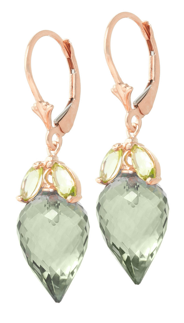 Green Amethyst & Peridot Drop Earrings in 9ct Rose Gold
