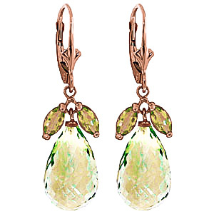 Green Amethyst & Peridot Snowdrop Earrings in 9ct Rose Gold