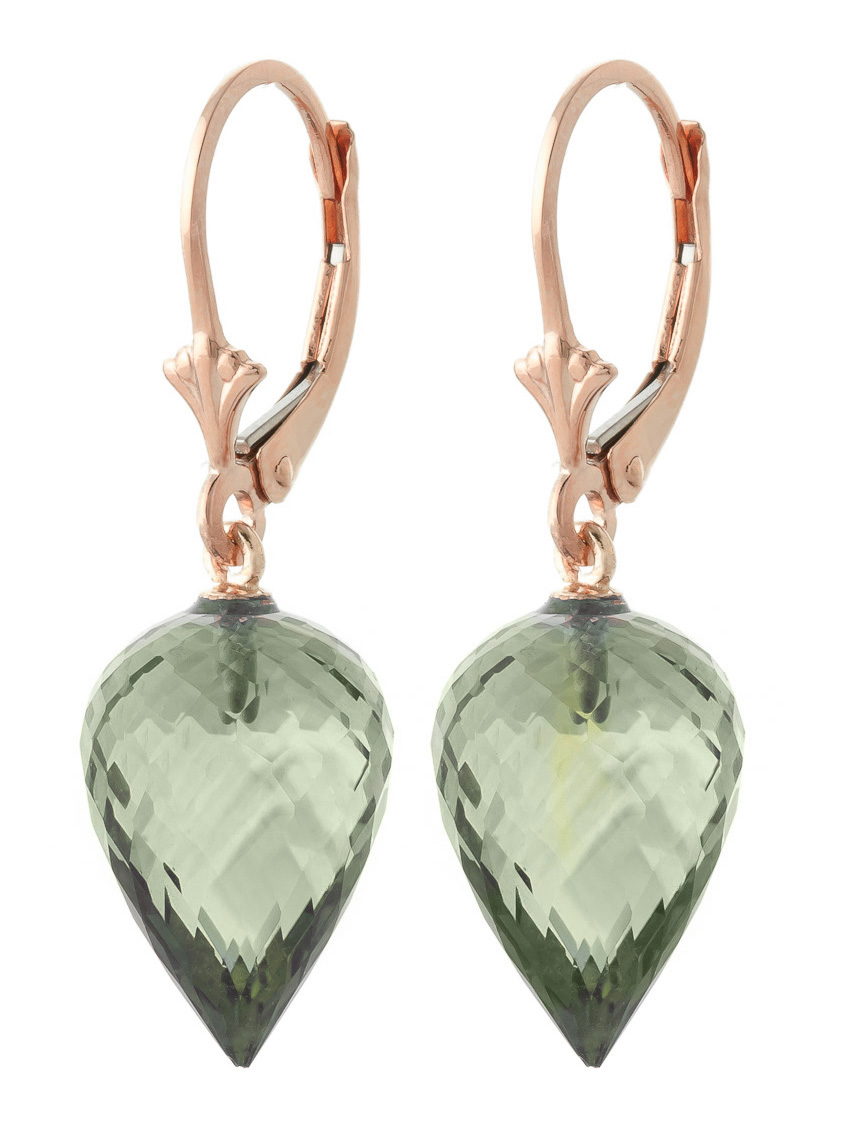 Green Amethyst Briolette Drop Earrings 19 ctw in 9ct Rose Gold
