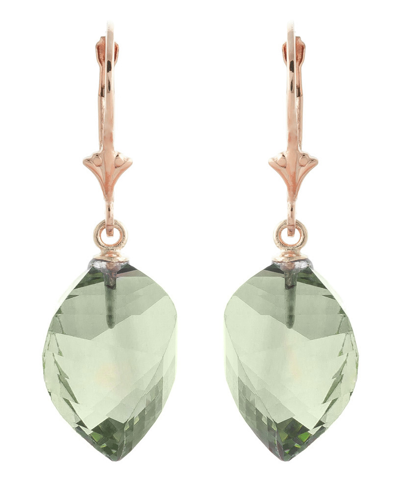 Green Amethyst Briolette Drop Earrings 26 ctw in 9ct Rose Gold