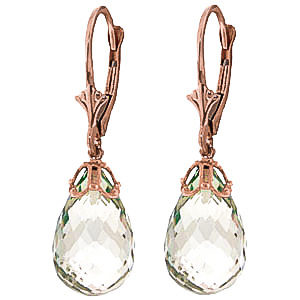 Green Amethyst Crown Drop Earrings 14 ctw in 9ct Rose Gold