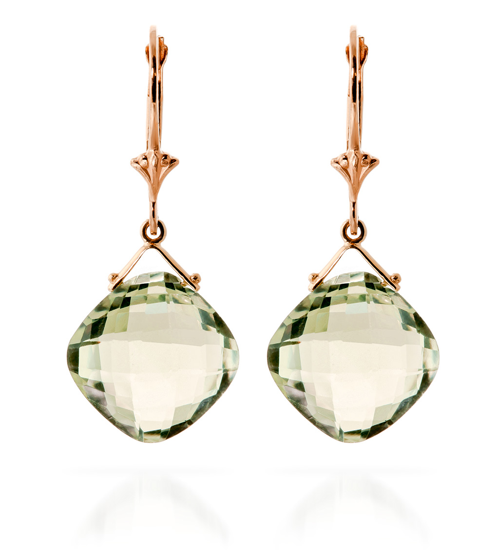 Green Amethyst Deflection Drop Earrings 17.5 ctw in 9ct Rose Gold