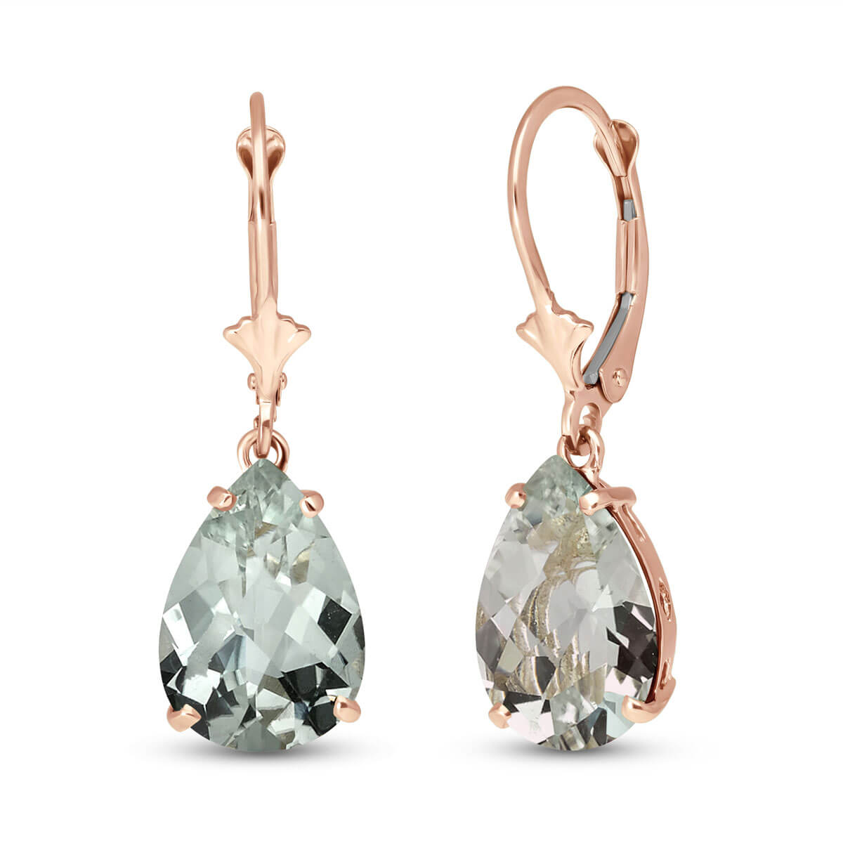 Green Amethyst Drop Earrings 10 ctw in 9ct Rose Gold