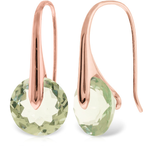 Green Amethyst Drop Earrings 11.5 ctw in 9ct Rose Gold