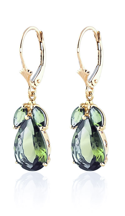 Green Amethyst Drop Earrings 13 ctw in 9ct Gold
