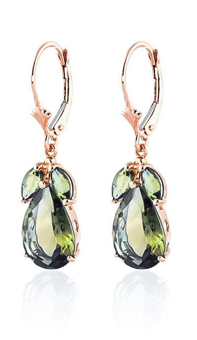 Green Amethyst Drop Earrings 13 ctw in 9ct Rose Gold