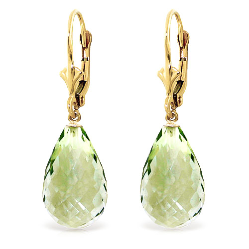 Green Amethyst Drop Earrings 14 ctw in 9ct Gold