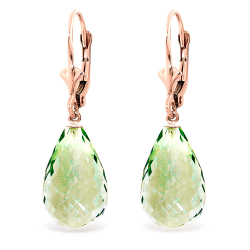 Green Amethyst Drop Earrings 14 ctw in 9ct Rose Gold