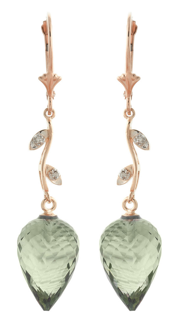 Green Amethyst Drop Earrings 19.02 ctw in 9ct Rose Gold