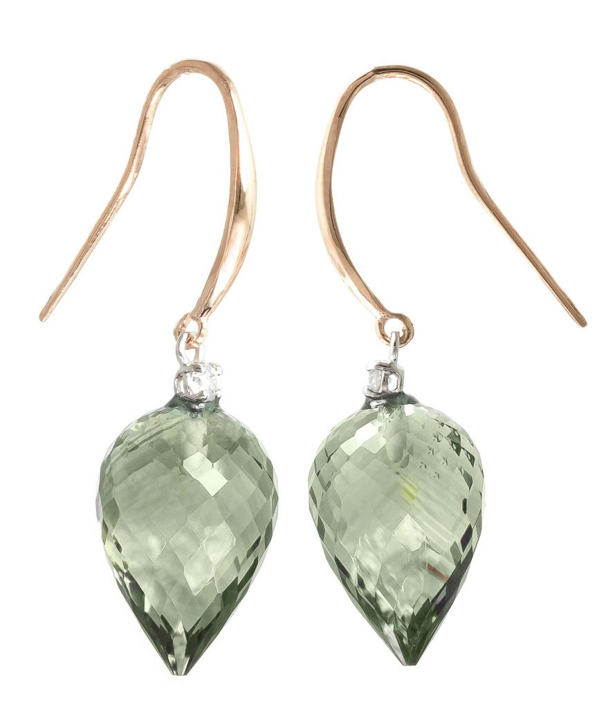 Green Amethyst Drop Earrings 19.1 ctw in 9ct Rose Gold
