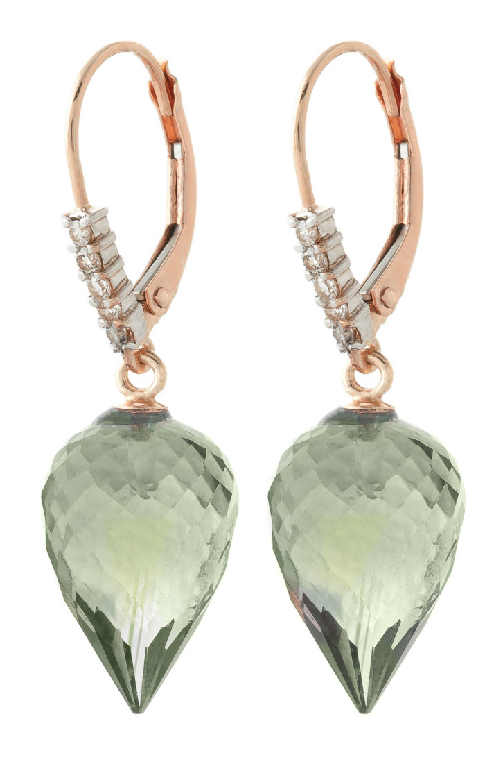 Green Amethyst Drop Earrings 19.15 ctw in 9ct Rose Gold