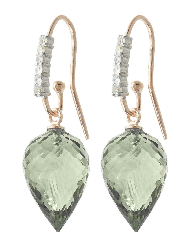 Green Amethyst Drop Earrings 19.19 ctw in 9ct Rose Gold