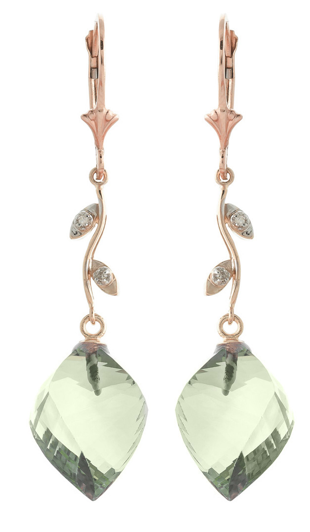 Green Amethyst Drop Earrings 26.02 ctw in 9ct Rose Gold