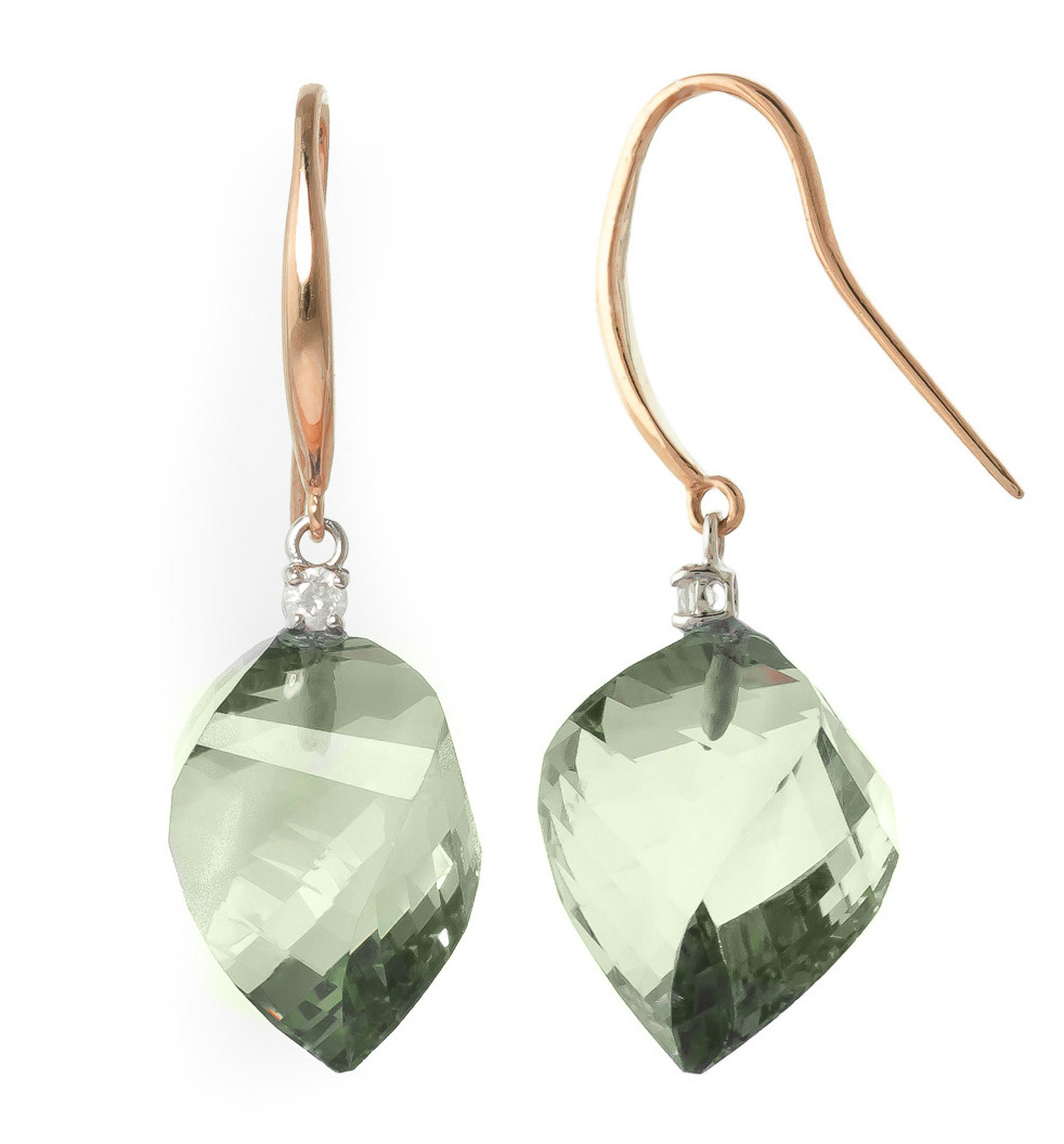 Green Amethyst Drop Earrings 26.1 ctw in 9ct Rose Gold
