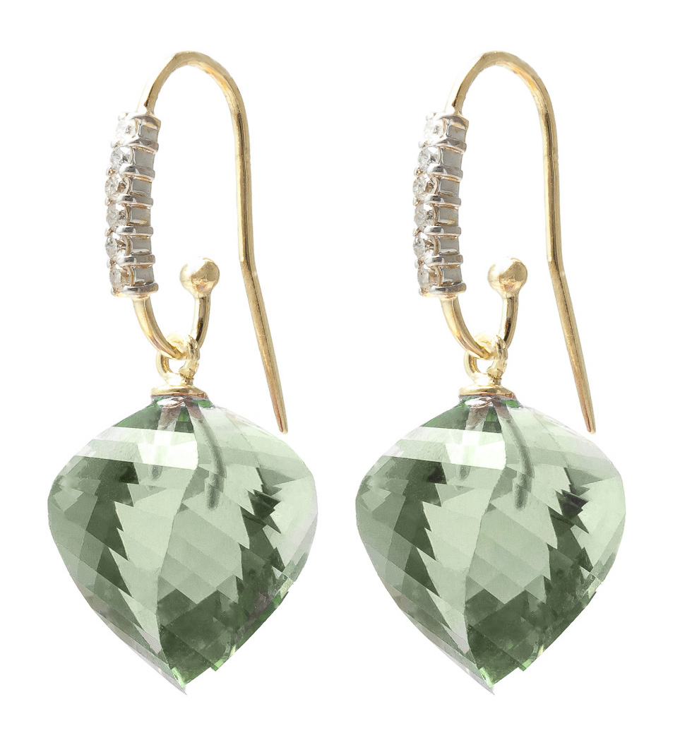 Green Amethyst Drop Earrings 26.18 ctw in 9ct Gold
