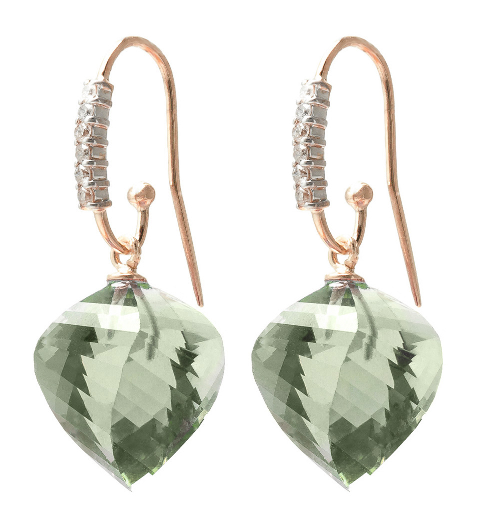 Green Amethyst Drop Earrings 26.18 ctw in 9ct Rose Gold