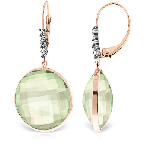 Green Amethyst Drop Earrings 36.15 ctw in 9ct Rose Gold