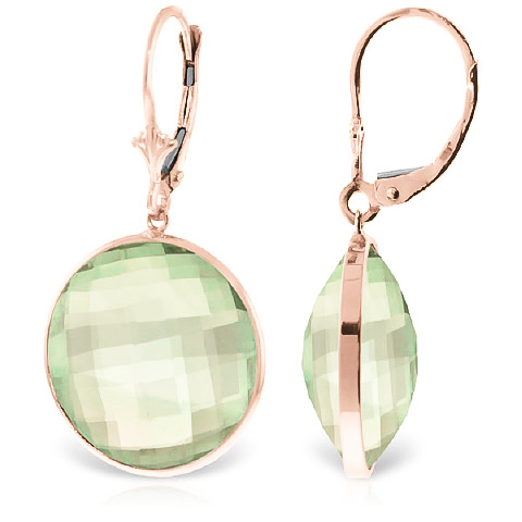 Green Amethyst Drop Earrings 36 ctw in 9ct Rose Gold