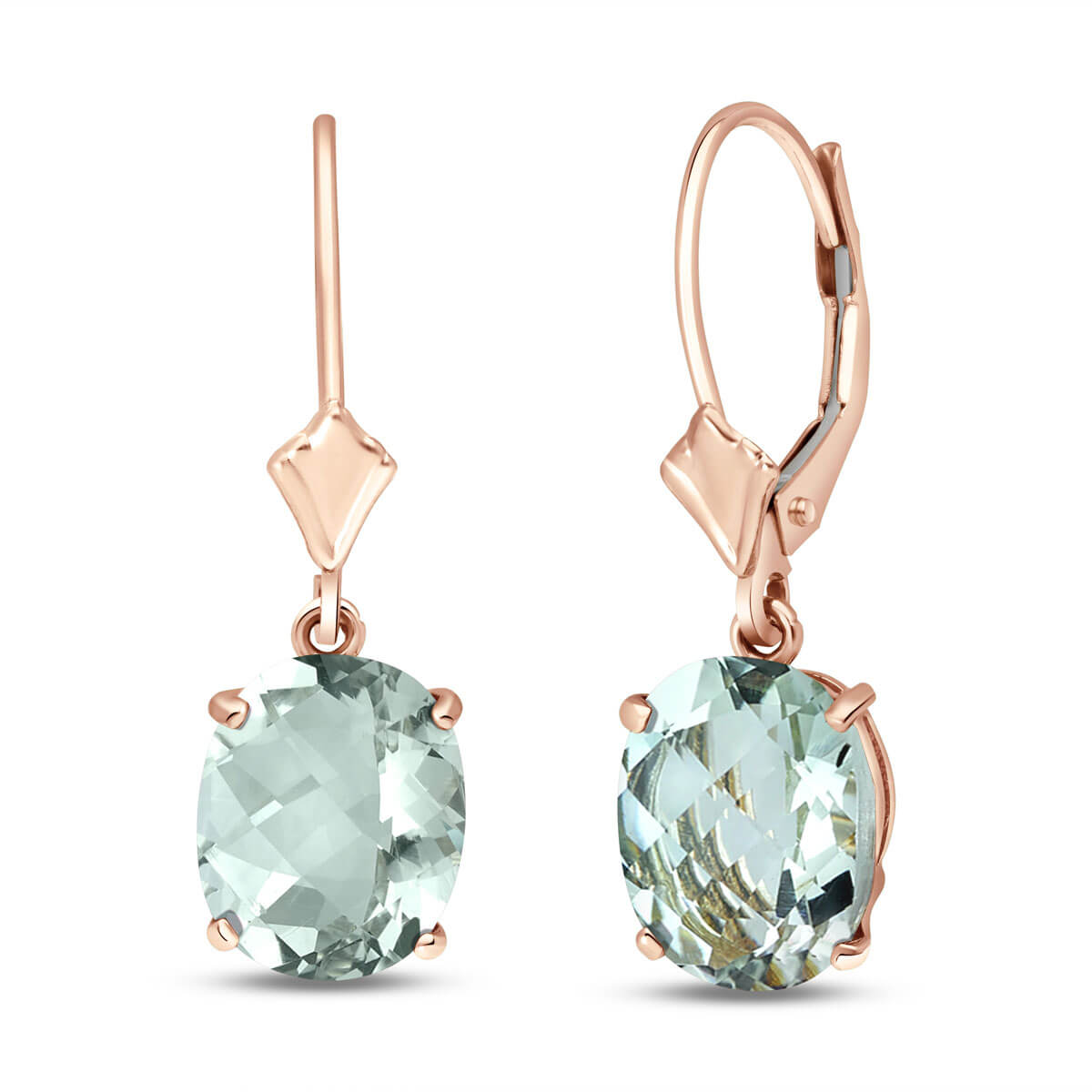 Green Amethyst Drop Earrings 6.25 ctw in 9ct Rose Gold