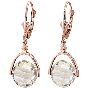Green Amethyst Drop Earrings 6.5 ctw in 9ct Rose Gold