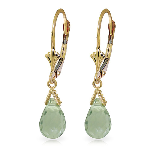 Green Amethyst Droplet Earrings 5 ctw in 9ct Gold