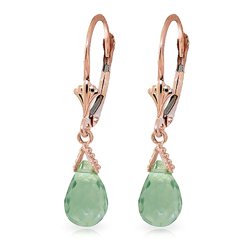Green Amethyst Droplet Earrings 5 ctw in 9ct Rose Gold