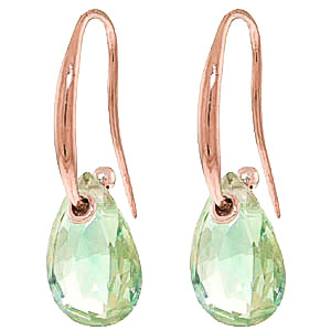 Green Amethyst Droplet Earrings 8 ctw in 9ct Rose Gold