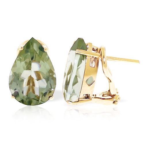 Green Amethyst Droplet Stud Earrings 10 ctw in 9ct Gold
