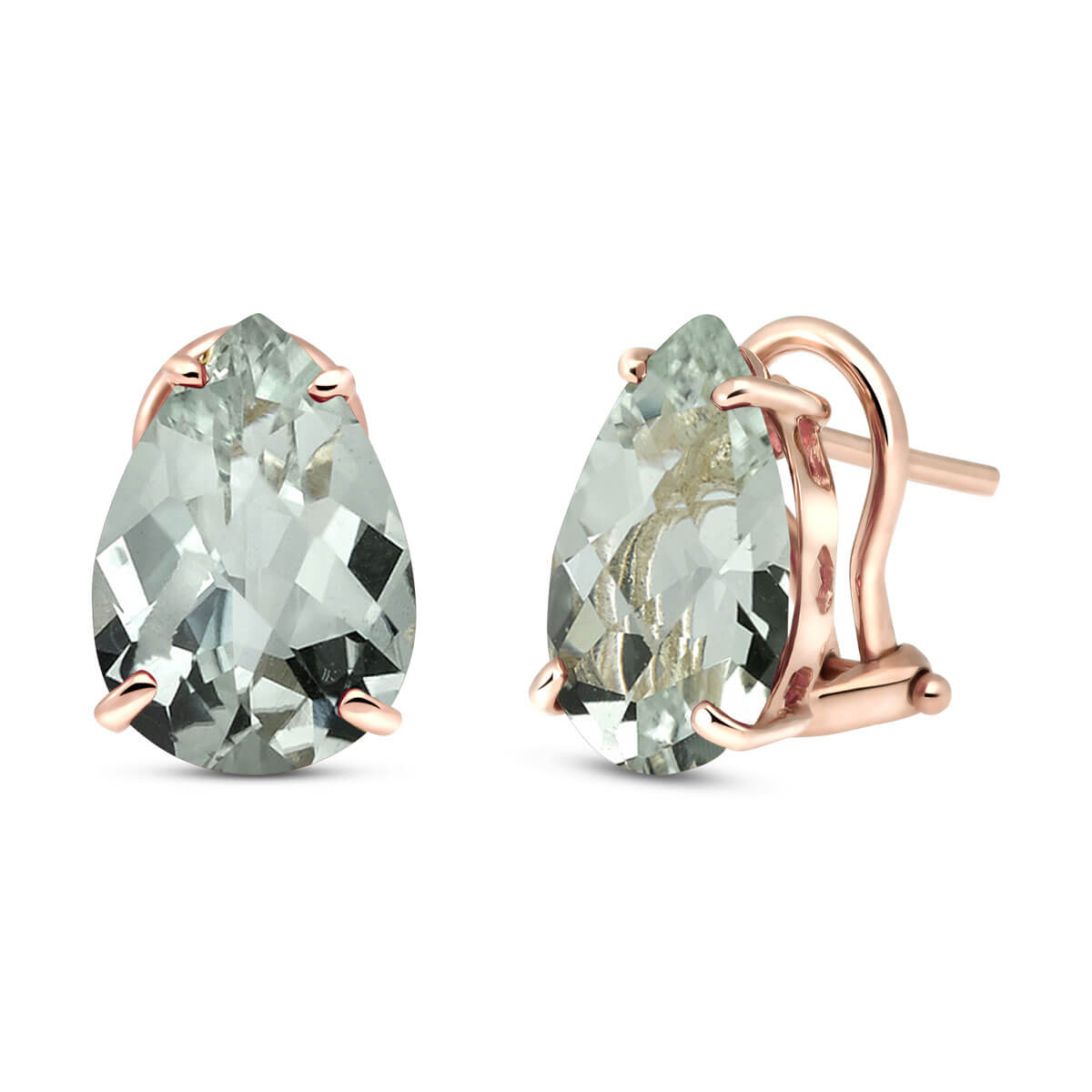 Green Amethyst Droplet Stud Earrings 10 ctw in 9ct Rose Gold