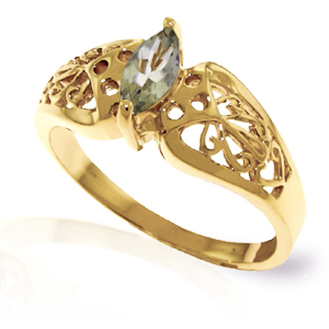 Green Amethyst Filigree Ring 0.2 ct in 18ct Gold