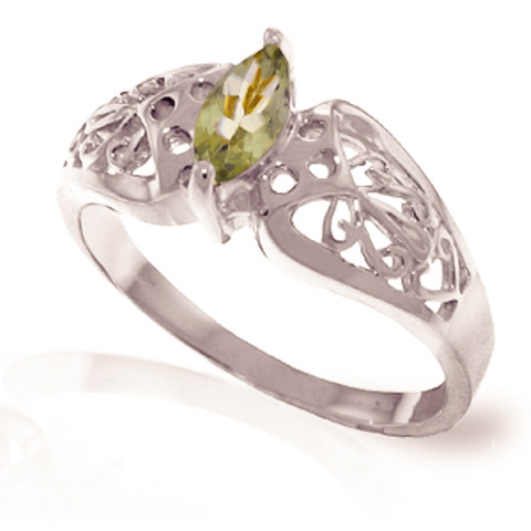Green Amethyst Filigree Ring 0.2 ct in 18ct White Gold