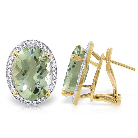 Green Amethyst French Clip Earrings 10.56 ctw in 9ct Gold
