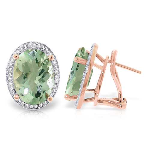 Green Amethyst French Clip Earrings 10.56 ctw in 9ct Rose Gold