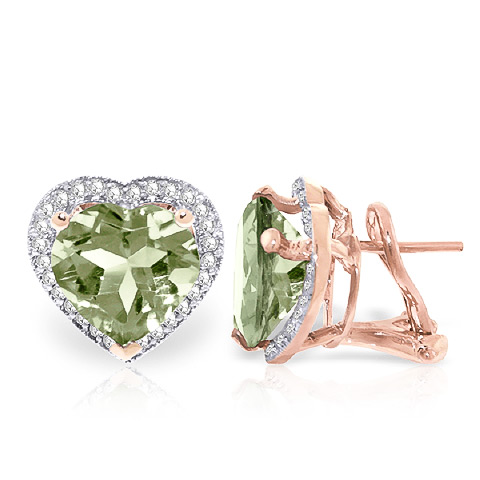 Green Amethyst French Clip Earrings 6.48 ctw in 9ct Rose Gold