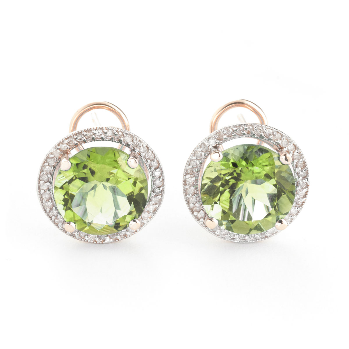 Green Amethyst French Clip Halo Earrings 10.4 ctw in 9ct Rose Gold
