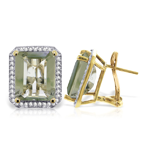 Green Amethyst French Clip Halo Earrings 11.6 ctw in 9ct Gold