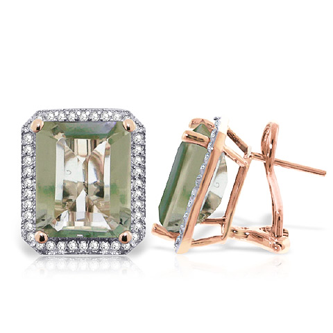 Green Amethyst French Clip Halo Earrings 11.6 ctw in 9ct Rose Gold