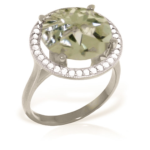 Green Amethyst Halo Ring 5.2 ctw in 18ct White Gold