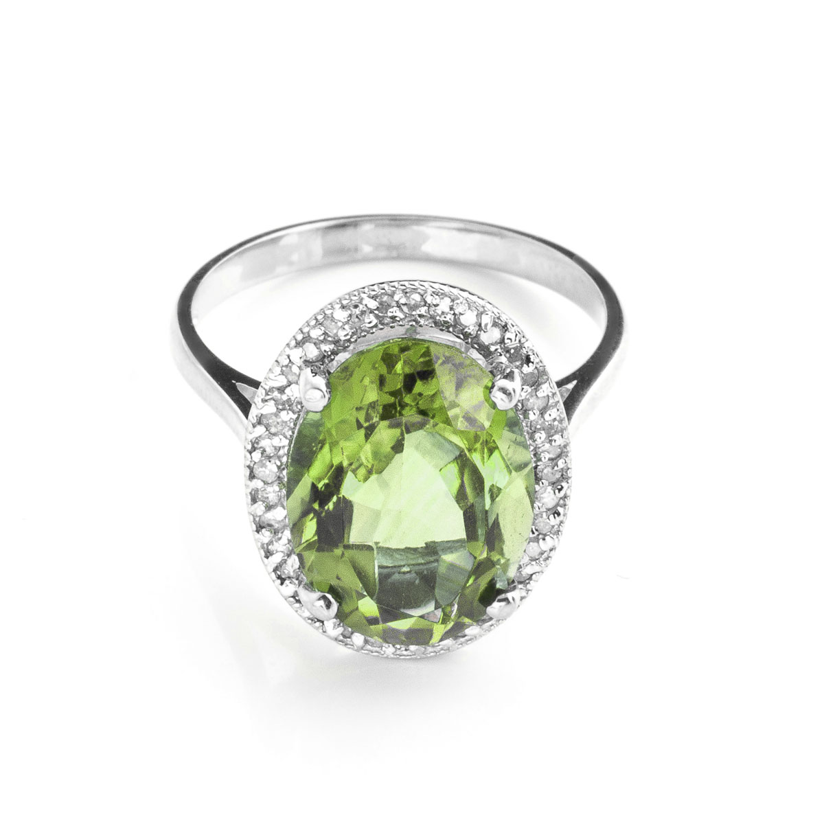 Green Amethyst Halo Ring 5.28 ctw in 9ct White Gold