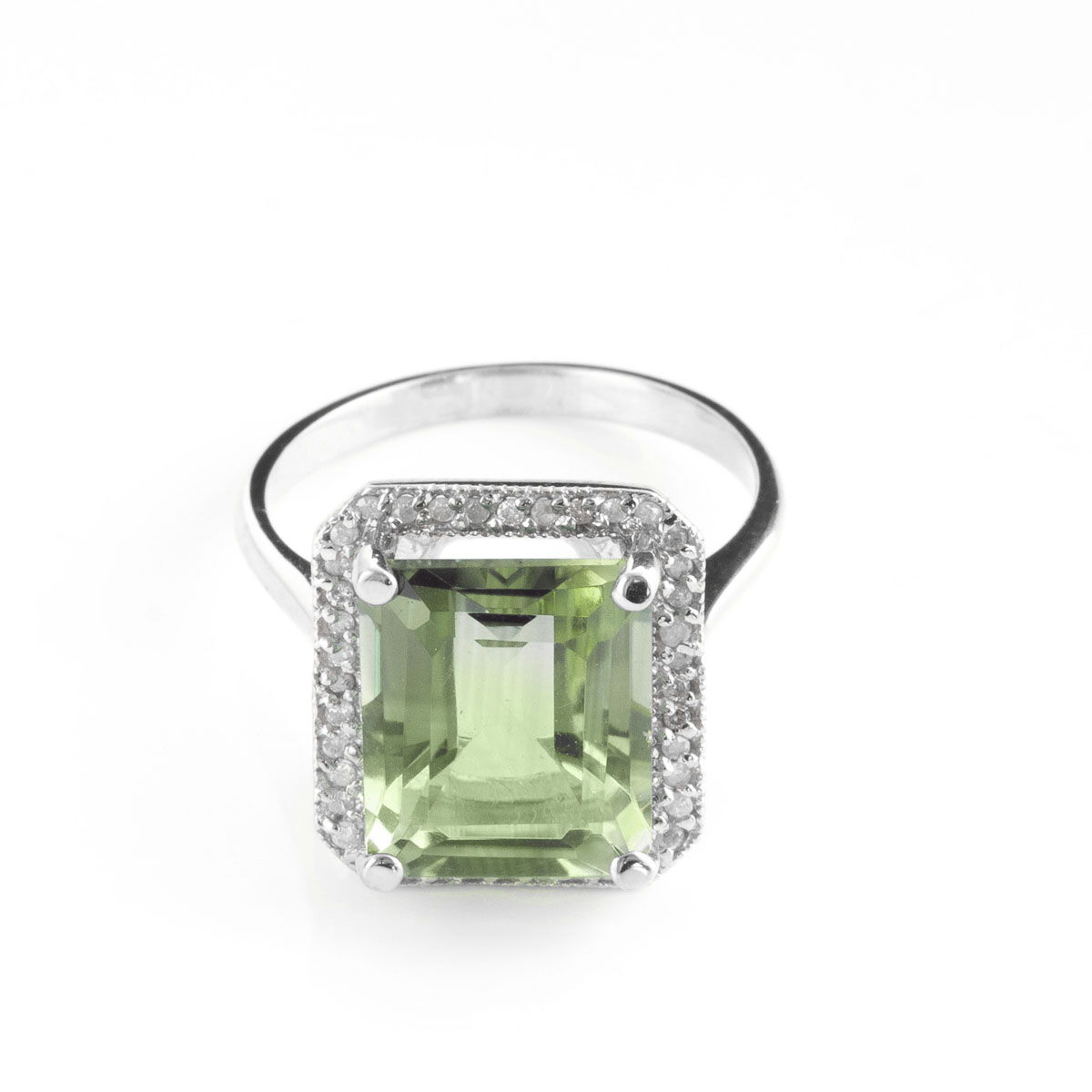 Green Amethyst Halo Ring 5.8 ctw in 18ct White Gold
