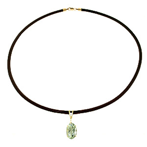 Green Amethyst Leather Pendant Necklace 7.56 ctw in 9ct Gold