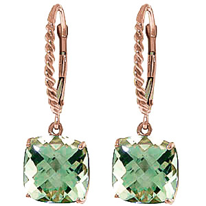 Green Amethyst Rococo Twist Drop Earrings 7.2 ctw in 9ct Rose Gold