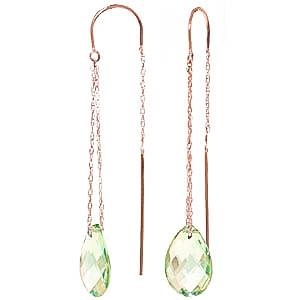 Green Amethyst Scintilla Earrings 6 ctw in 9ct Rose Gold