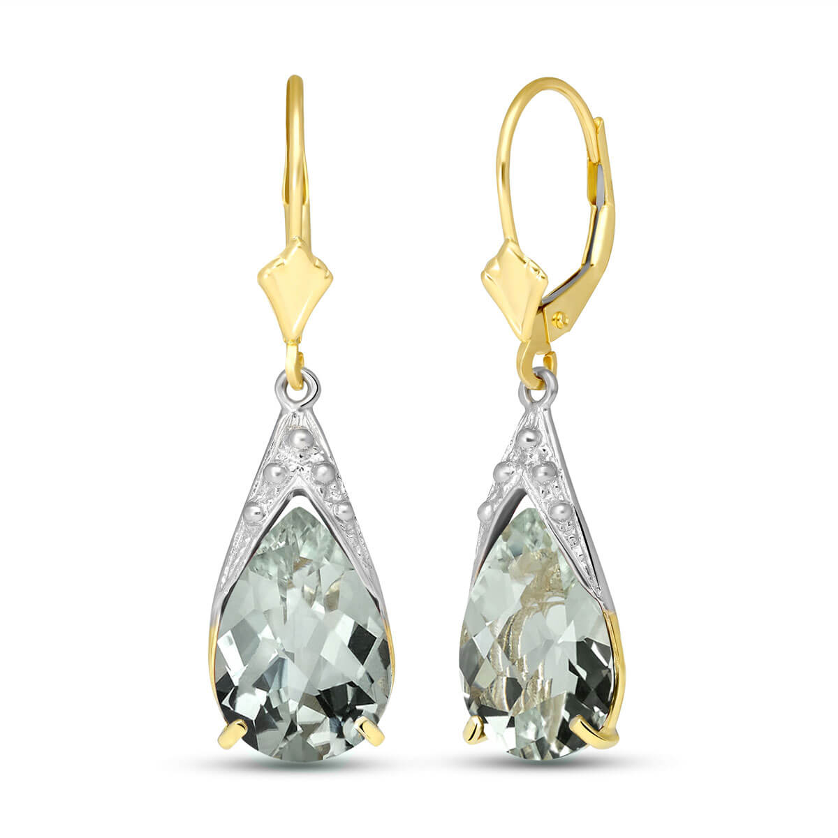 Green Amethyst Snowcap Drop Earrings 10 ctw in 9ct Gold