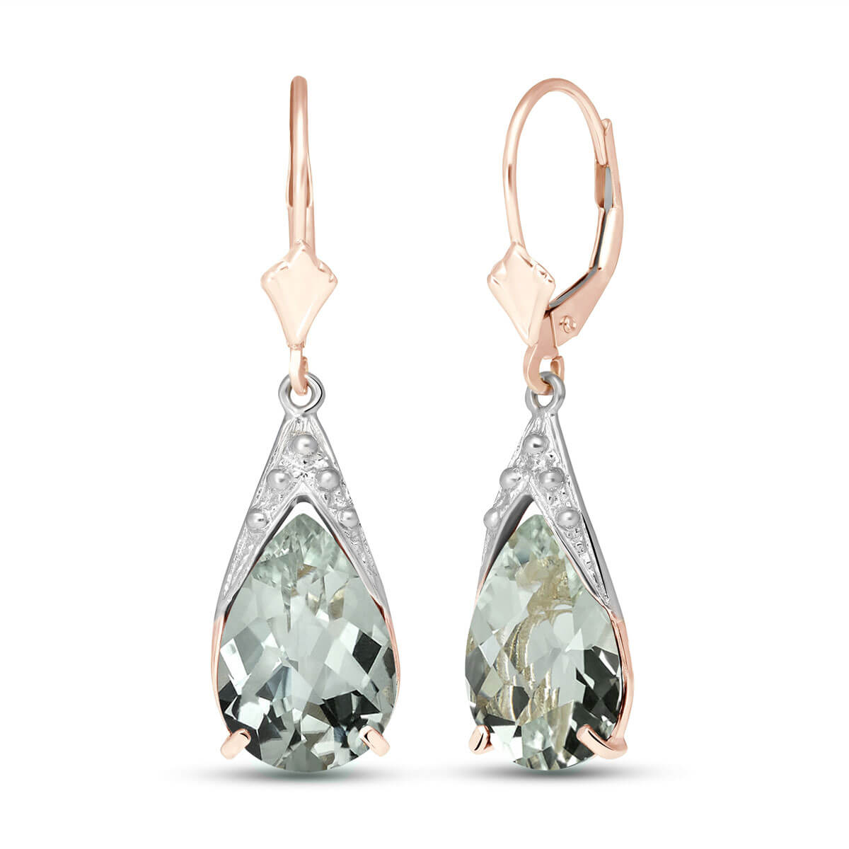 Green Amethyst Snowcap Drop Earrings 10 ctw in 9ct Rose Gold