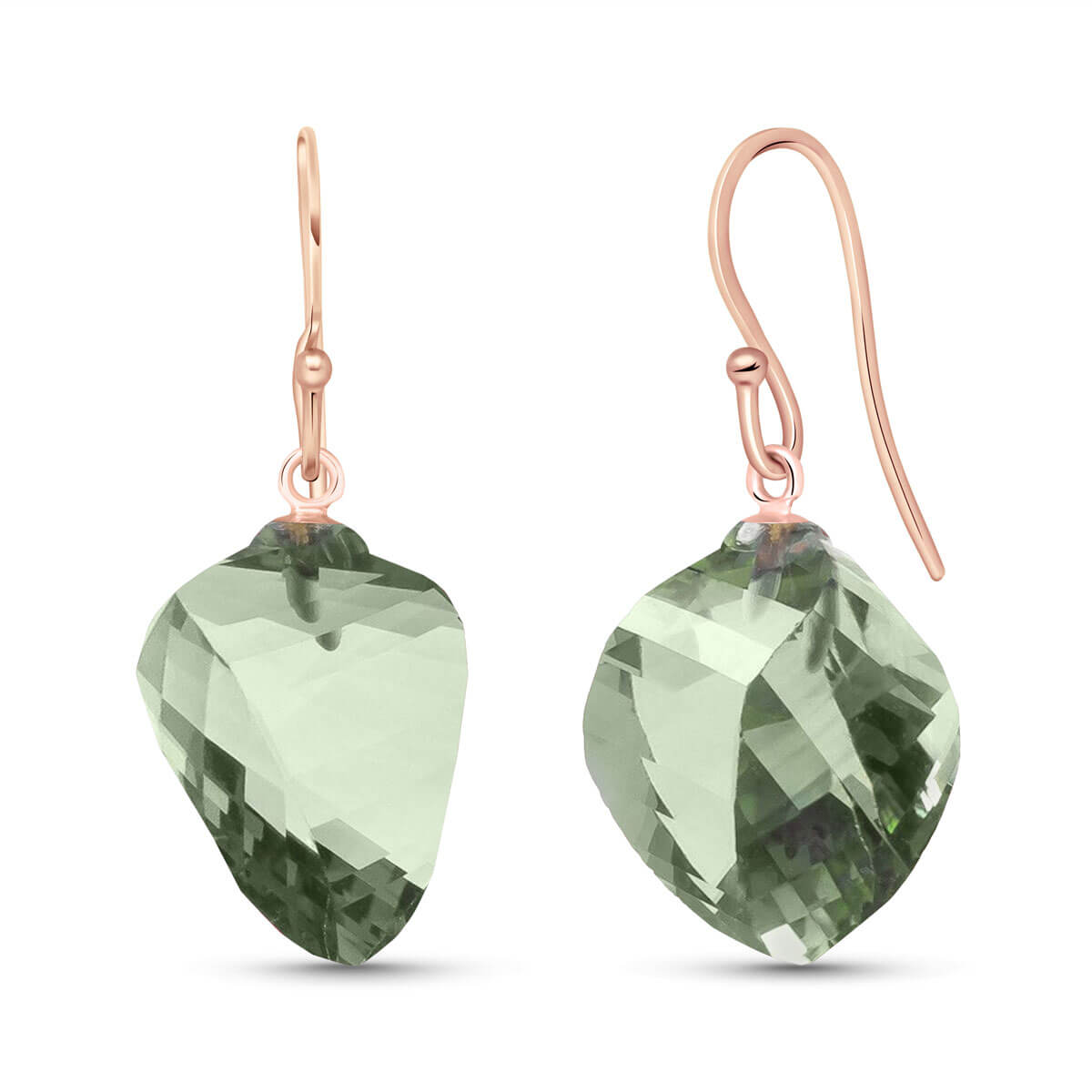 Green Amethyst Spiral Briolette Drop Earrings 26 ctw in 9ct Rose Gold
