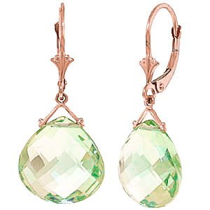Green Amethyst Star Drop Earrings 17 ctw in 9ct Rose Gold