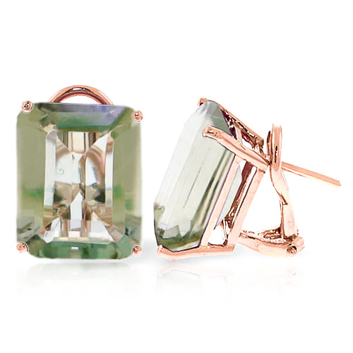 Green Amethyst Stud Earrings 13 ctw in 9ct Rose Gold