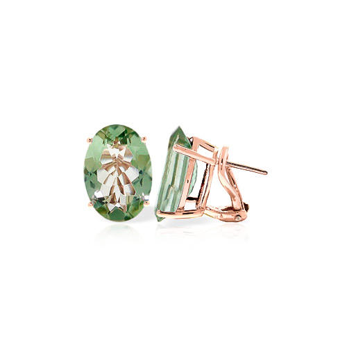 Green Amethyst Stud Earrings 15.1 ctw in 9ct Rose Gold