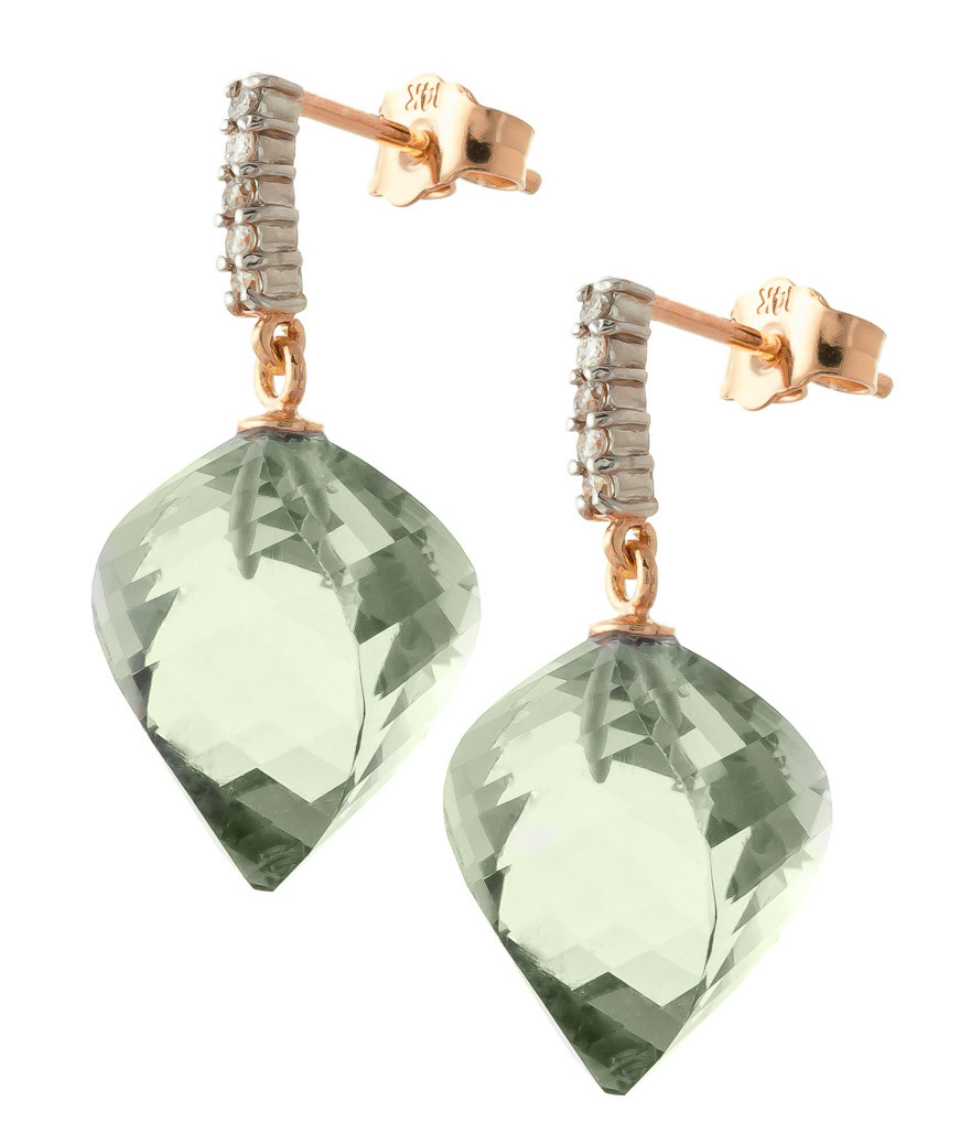 Green Amethyst Stud Earrings 26.15 ctw in 9ct Rose Gold